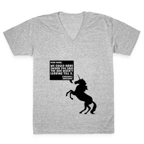 Dear Noah, Sincerely Unicorns V-Neck Tee Shirt