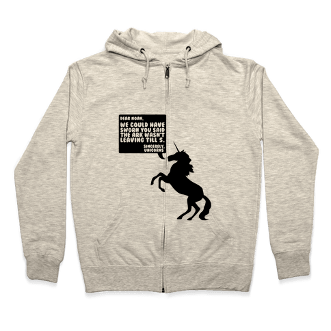 Dear Noah, Sincerely Unicorns Zip Hoodie