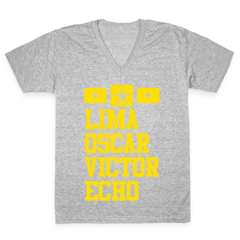 Lima Oscar Victor Echo (Army) V-Neck Tee Shirt
