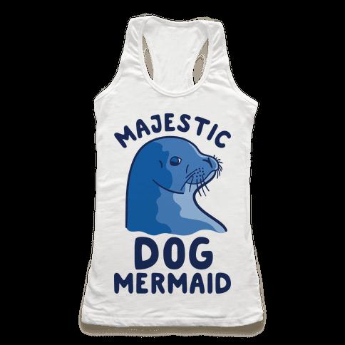 Majestic Dog Mermaid Racerback Tank Top