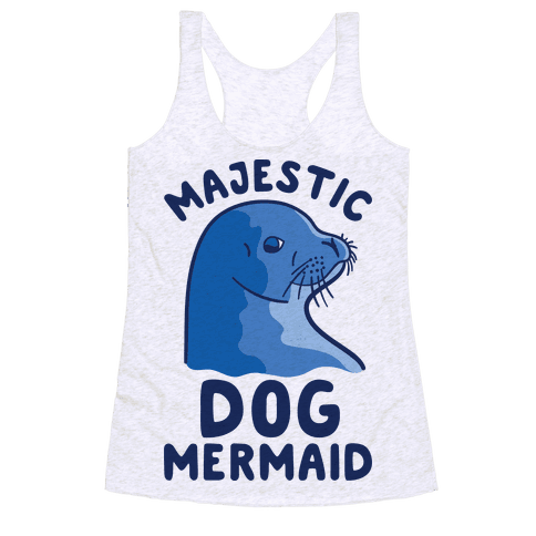 Majestic Dog Mermaid Racerback Tank Top