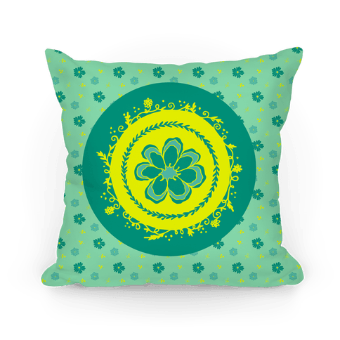 Springtime Floral Mandala (Green) Pillow