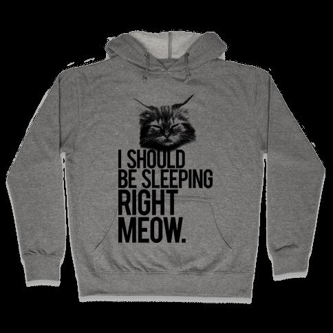 I Should Be Sleeping RIght Meow Hooded Sweatshirt