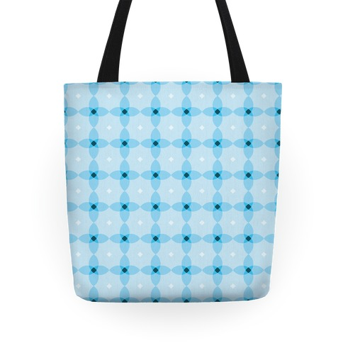 Blue Geometric Flower Pattern Tote