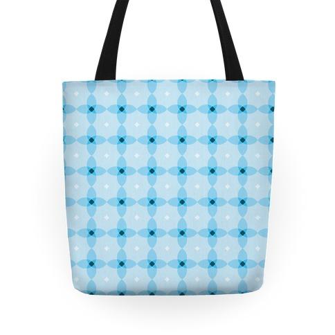 Blue Geometric Flower Pattern Tote