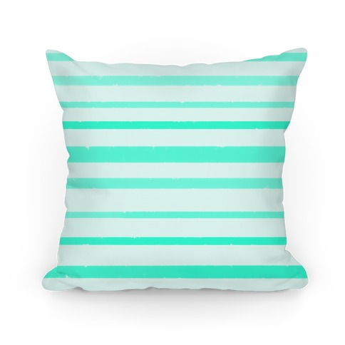 Teal Watercolor Stripe Pattern Pillow