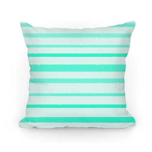 Teal Watercolor Stripe Pattern Pillow