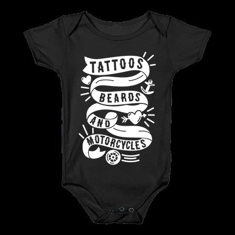 Tattoos, Beards and Motorcycles Baby Onesy