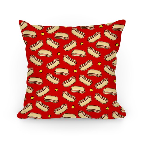 Red Hot Dog Pattern Pillow
