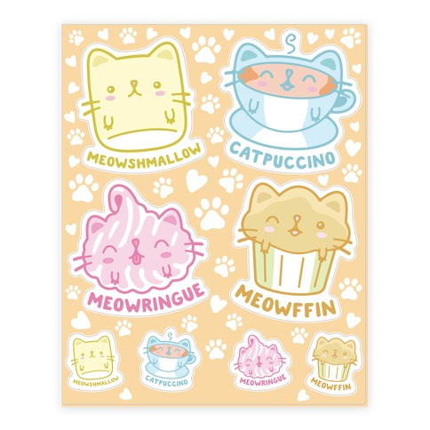 Cute Cat Snacks Sticker and Decal Sheet
