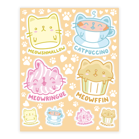 Cute Cat Snacks  Sticker/Decal Sheet