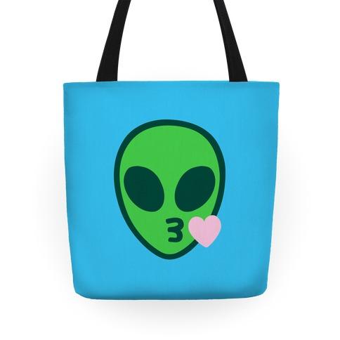 Blowing Kiss Alien Emoji Tote