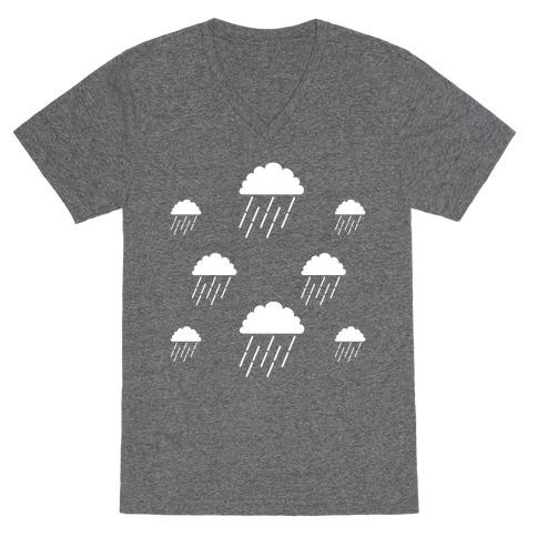 Minimalist Rain Clouds V-Neck Tee Shirt