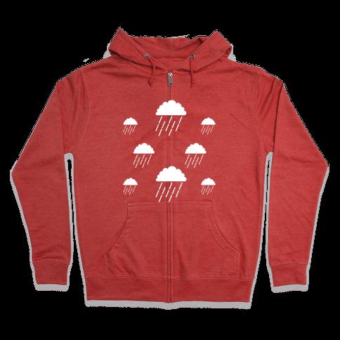 Minimalist Rain Clouds Zip Hoodie
