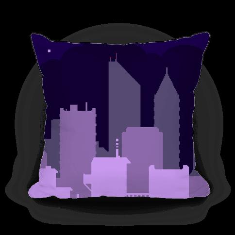 Pixel Cityscape Pillow