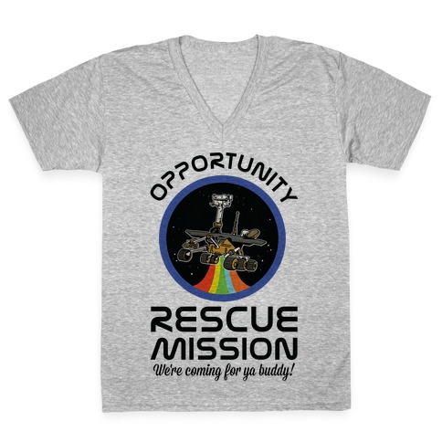Opportunity Rescue Mission (Mars Rover) V-Neck Tee Shirt