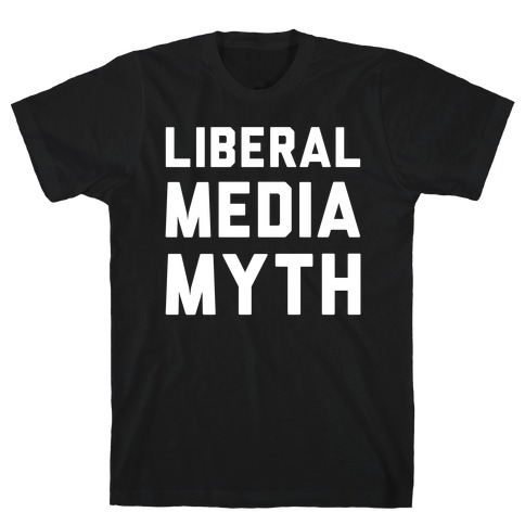Liberal Media Myth White Print Mens T-Shirt
