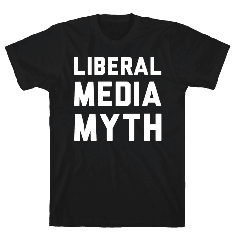 Liberal Media Myth White Print Mens T-Shirt