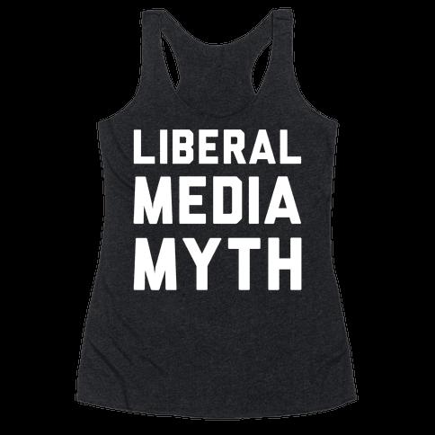 Liberal Media Myth White Print Racerback Tank Top