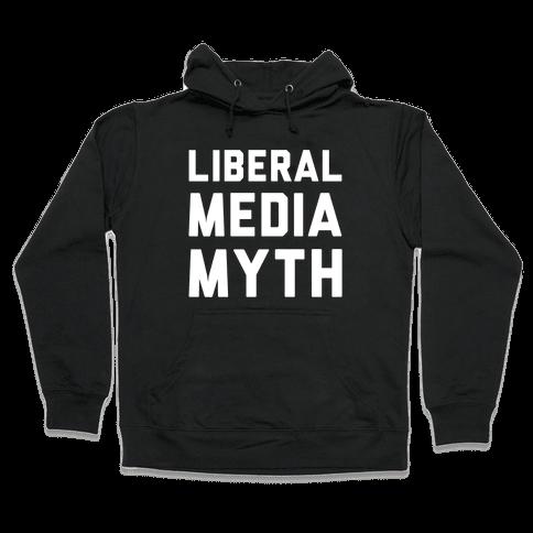 Liberal Media Myth White Print Hooded Sweatshirt