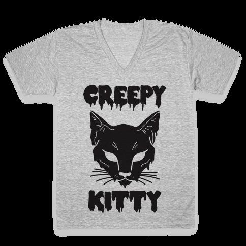 Creepy Kitty V-Neck Tee Shirt