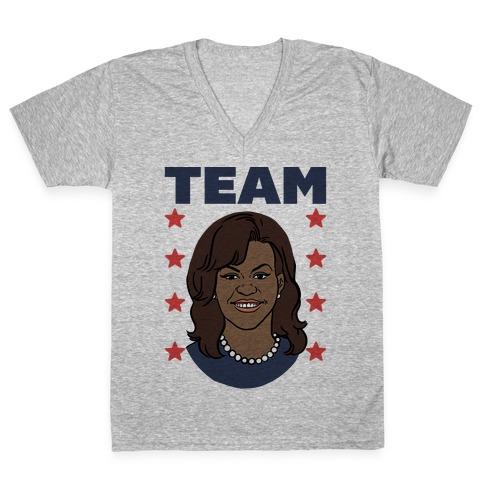 Tag Team Barack & Michelle Obama 2 V-Neck Tee Shirt