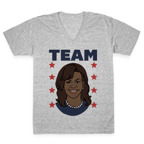 Tag Team Barack & Michelle Obama 2 V-Neck Tee Shirt