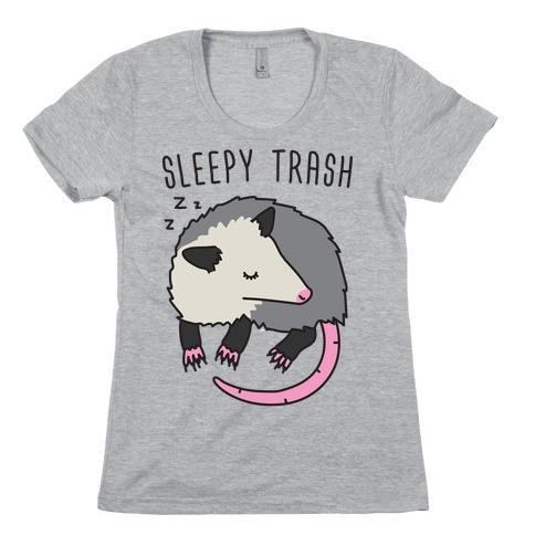 Sleepy Trash Opossum Womens T-Shirt