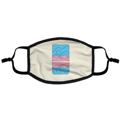 Groovy Pride Flag Landscapes: Trans Flag Flat Face Mask