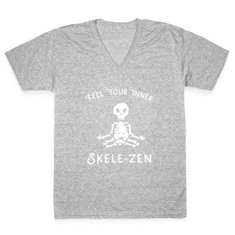 Feel Your Inner Skele-zen V-Neck Tee Shirt