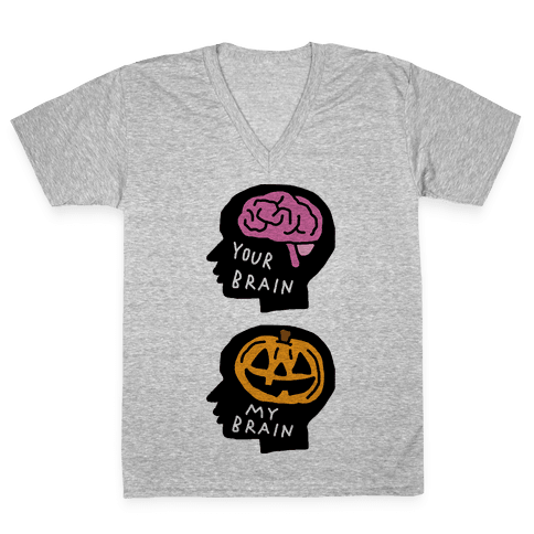 Your Brain My Brain Halloween V-Neck Tee Shirt