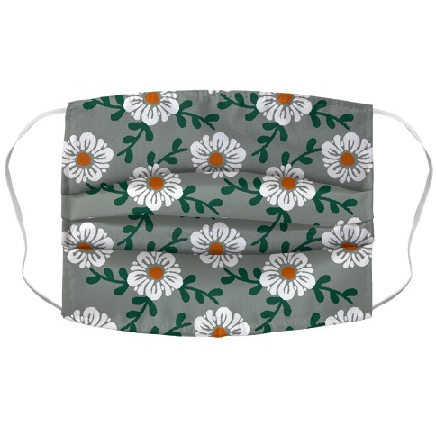 Retro Flowers and Vines Grey Accordion Face Mask