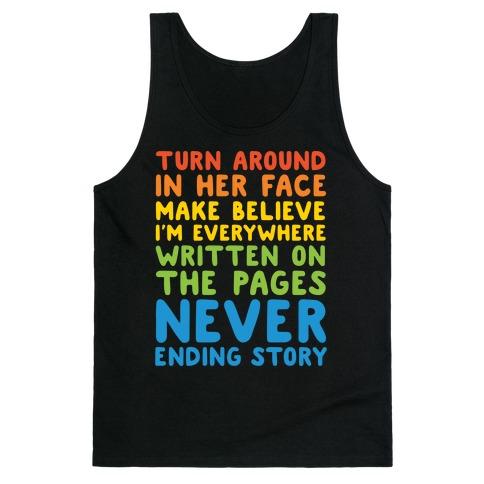The Never Ending Story Lyric Pairs Shirts White Print Tank Top