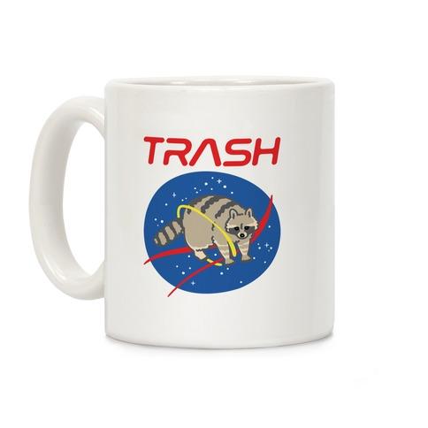 Trash Raccoon Nasa Logo Parody White Print Coffee Mug