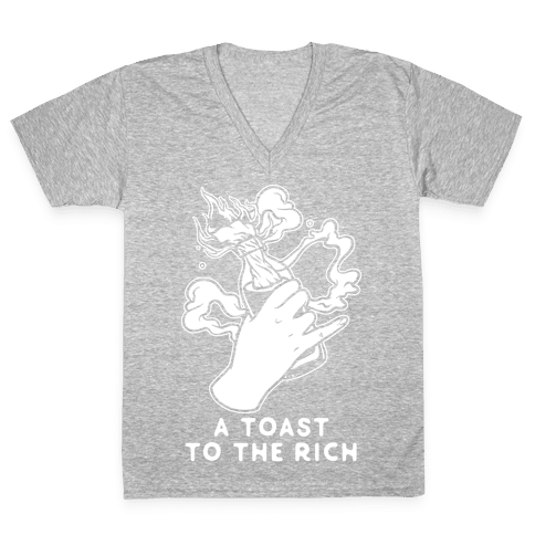 A Toast To The Rich V-Neck Tee Shirt