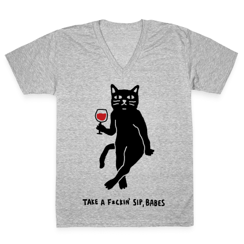 Take A F***in Sip Babes Cat V-Neck Tee Shirt