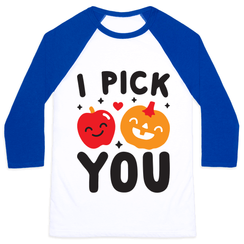 I Pick You Apple & Pumpkin Baseball Tee