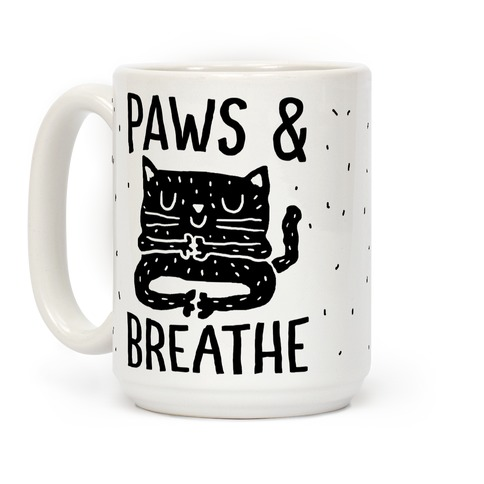 Paws And Breathe Yoga Cat Coffee Mug
