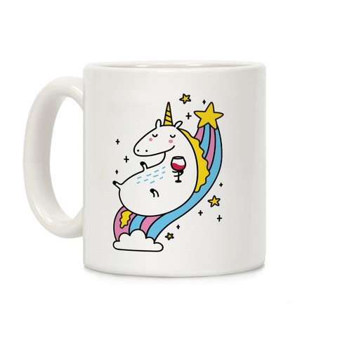 Unicorn Drinking Wine On Rainbow Coffee Mug