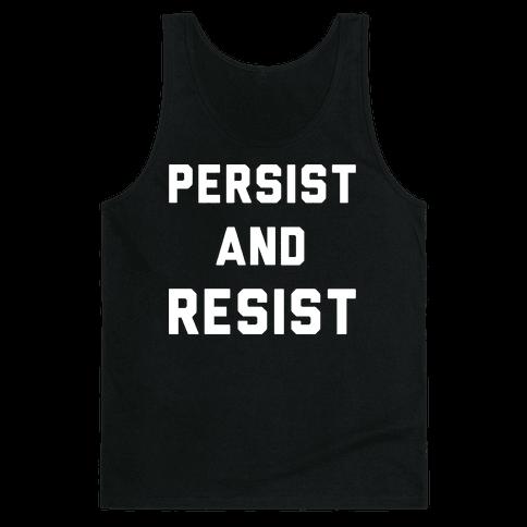 Persist and Resist White Print Tank Top