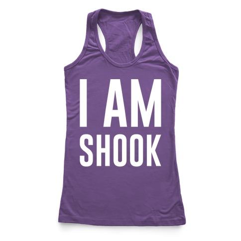 I Am Shook White Print Racerback Tank Top