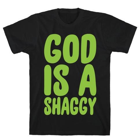 God Is A Shaggy Parody White Print T-Shirt