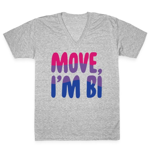 Move I'm Bi White Print V-Neck Tee Shirt