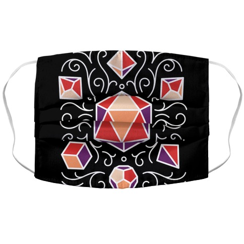DnD Dice Set Pattern Accordion Face Mask