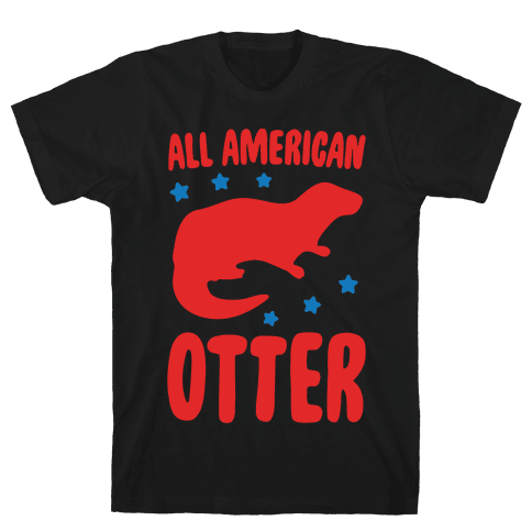 All American Otter White Print Mens T-Shirt
