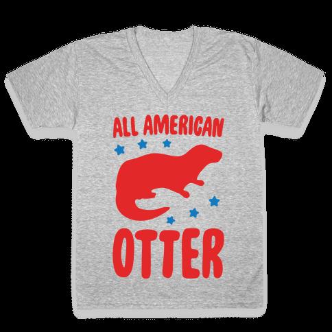 All American Otter White Print V-Neck Tee Shirt