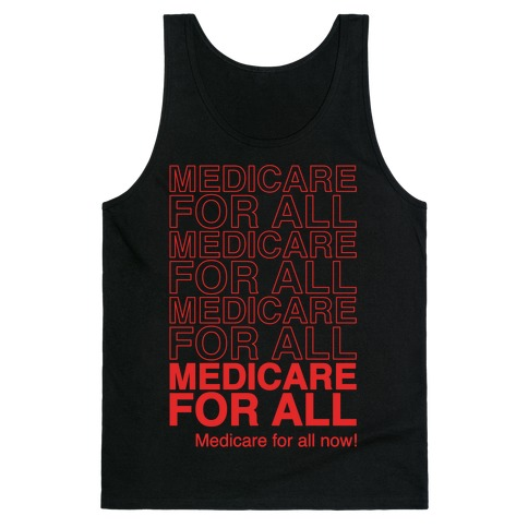 Medicare For All White Print Tank Top