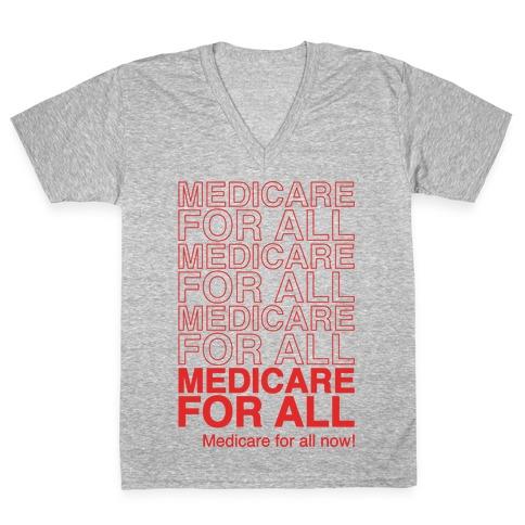 Medicare For All White Print V-Neck Tee Shirt