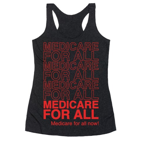 Medicare For All White Print Racerback Tank Top