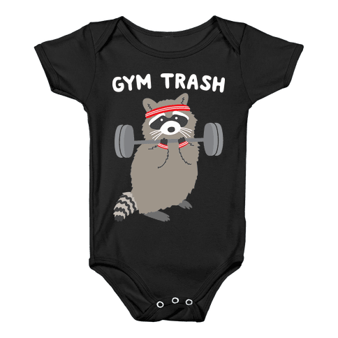 Gym Trash Raccoon Baby Onesy